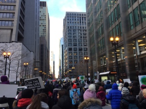 Pro Life demonstrators march down the streets of Chicago